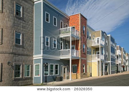 A new housing development containing either apartments or condos.