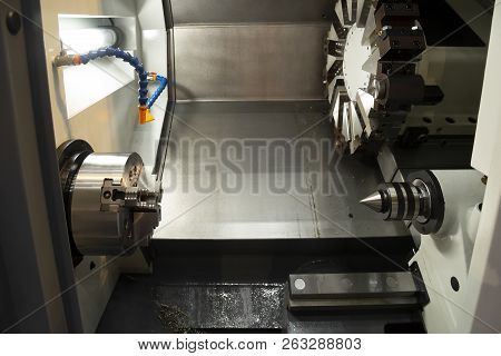 The Cnc Lathe Machine Or Turning Machine. Hi-technology Manufacturing Process.