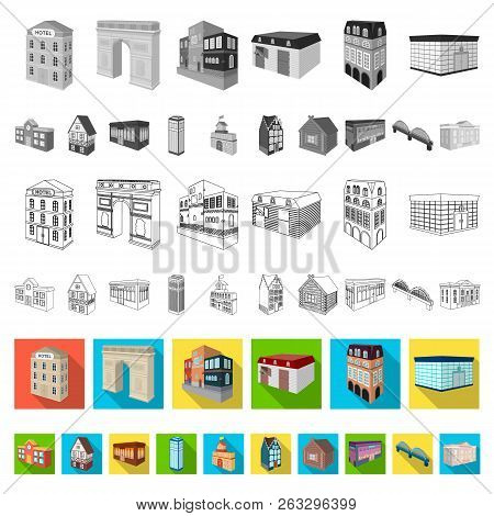 Building and architecture flat icons in set collection for design.The building and dwelling vector isometric symbol stock web illustration. poster