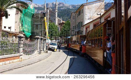 Soller, Mallorca: June 21, 2018: Travel Through The Historic Wooden Tram From Port De Soller To Soll
