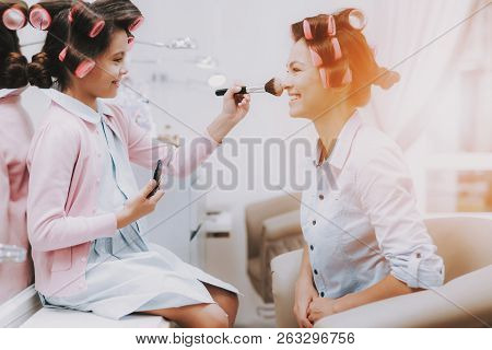 Little Girl With Curlers. Beautiful Little Lady. Girl In Beauty Salon. Girl With Brush In Hands. Con