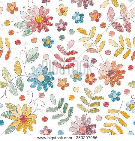 Embroidery Seamless Pattern With Colorful Flowers And Leaves On White Background. Fashion Design For