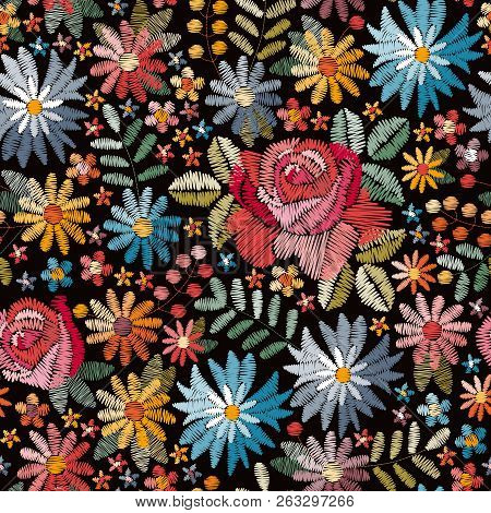 Embroidery Seamless Pattern With Colorful Flowers, Leaves And Berries On Black Background. Fashion D