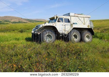 Yamal, Russia - August 22, 2018: Trekol All-terrain Vehicle Moves In The Tundra