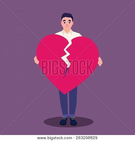 Young Sad Man Holding Broken Heart. Man With Broken Heart. Tearing Heart Love. Love Concept. Vector
