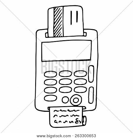 Terminal For Payment By Plastic Card Icon. Vector Illustration Of A Terminal For A Credit Card. Hand