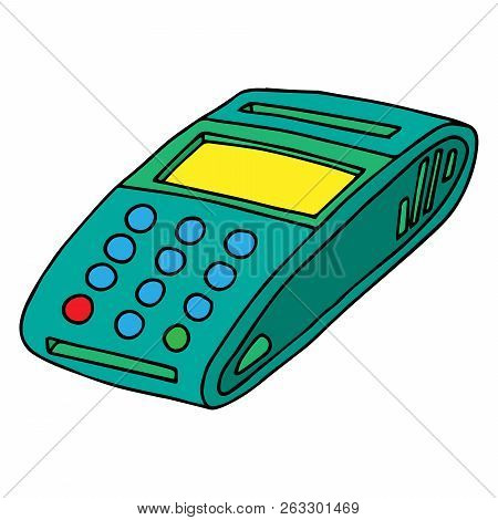 Terminal For Payment By Card Icon. Vector Of A Terminal For A Credit Card. Hand Drawn Cash Terminal