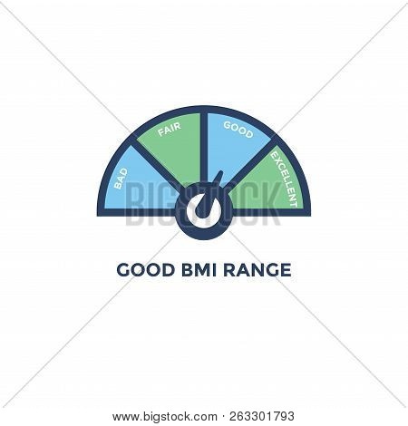 Bmi - Body Mass Index Icon - With Bmi Range Chart - Green And Blue