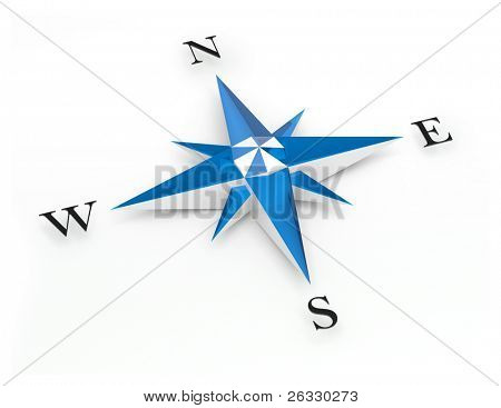 Illustration of a blue and white compass