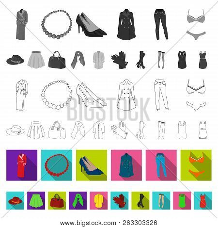 Women Clothing Flat Icons In Set Collection For Design.clothing Varieties And Accessories Vector Sym