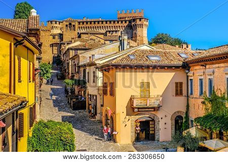 Mediaeval Town Buildings Of Gradara Italy Colorful Houses Village Streets .