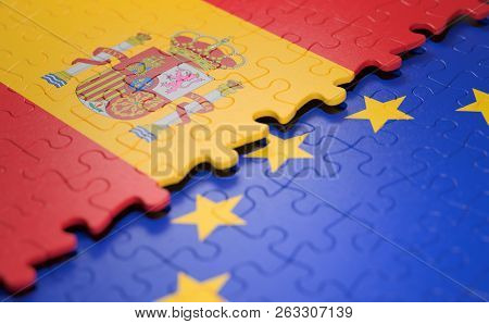 Flag Of The Spain And The European Union In The Form Of Puzzle Pieces In Concept Of Politics And Eco
