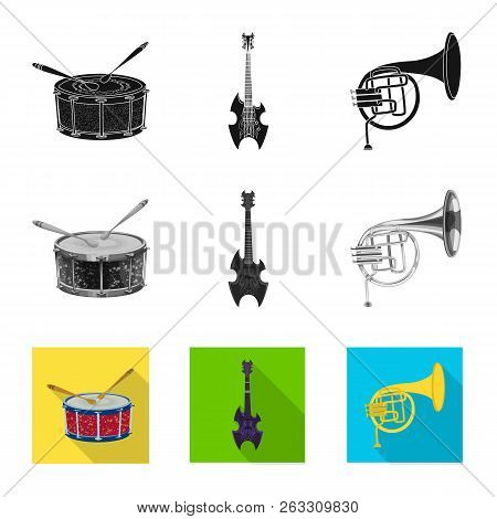 Isolated Object Of Music And Tune Logo. Collection Of Music And Tool Stock Vector Illustration.