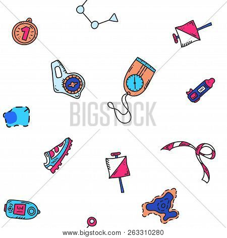 Vector Seamless Pattern Illustration Of Sport Orienteering Isolated Elements: Control Point, Compass