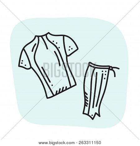 Vector Illustration Of Sport Orienteering Isolated Elements: Clothes, Shirt, Gaiter. Orientation, Na