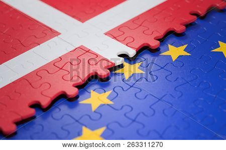 Flag Of The Denmark And The European Union In The Form Of Puzzle Pieces In Concept Of Politics And E