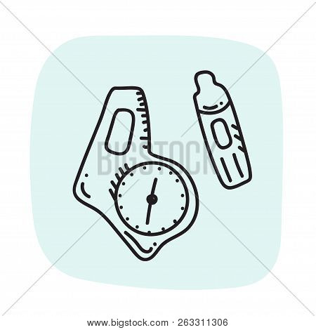 Vector Illustration Of Orienteering Sport Ident Card And Compass. Orientation, Navigation Isolated O