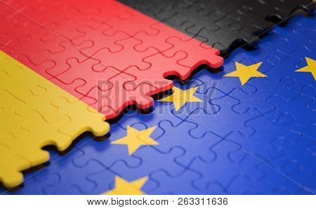 Flag Of The Germany And The European Union In The Form Of Puzzle Pieces In Concept Of Politics And E