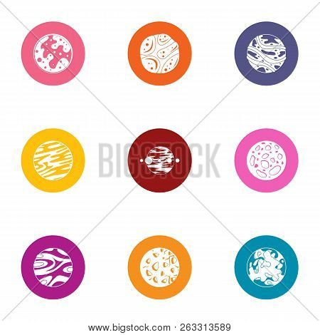 Planetary System Icons Set. Flat Set Of 9 Planetary System Vector Icons For Web Isolated On White Ba
