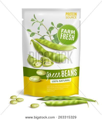 Preserved Natural Green Beans Plastic Package Valuable Protein Source Healthy Food Close Up Realisti