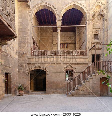 Facade Of Zeinab Khatoun Historic House, Located Near To Al-azhar Mosque In Darb Al-ahmar District,