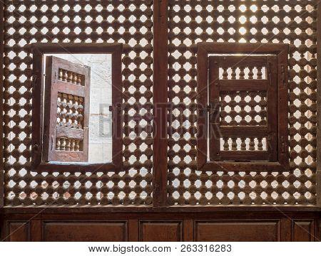 Wooden Latticed Window (mashrabiya) With Two Small Swinging Sashes, Cairo, Egypt