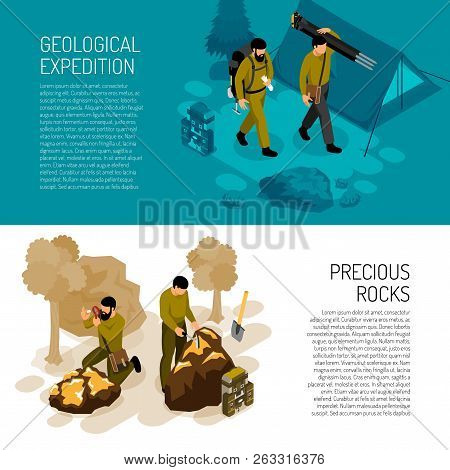 Geologist 2 Isometric Horizontal Background Banners With Expedition Fieldwork Gear And Rocks Mineral