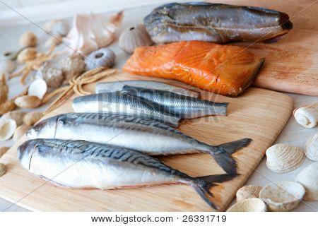 Frischen Fisch, Makrele; Hering; Geräucherter Lachs, Kabeljau