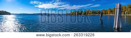 Panoramic View Of Charlotte Bay In Vermont