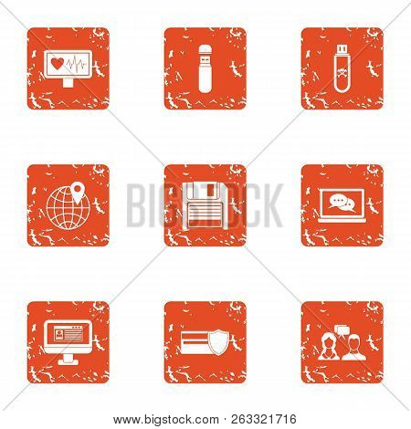 Pay Attention Icons Set. Grunge Set Of 9 Pay Attention Vector Icons For Web Isolated On White Backgr