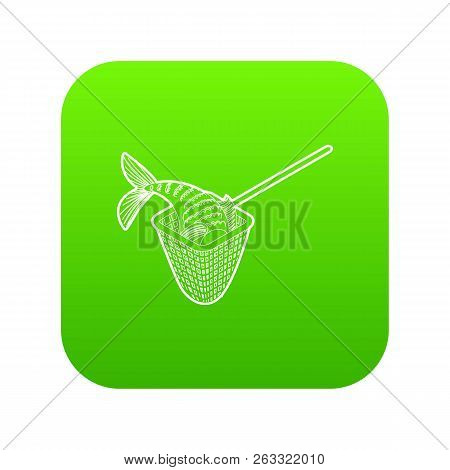 Fishing Net Icon Green Vector Isolated On White Background