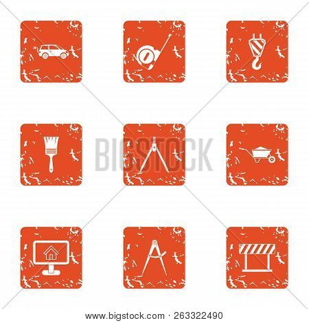 Commute Icons Set. Grunge Set Of 9 Commute Vector Icons For Web Isolated On White Background