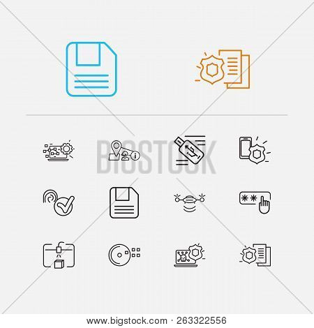 Hardware Icons Set. Steamroller And Hardware Icons With Floppy Disk, Antivirus And Access Code. Set