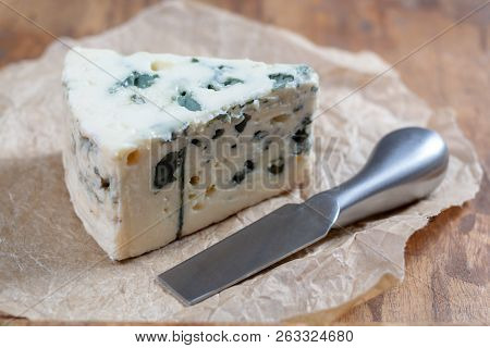 Roquefort Soft French Cheese Made From Sheep Milk On  South Of France, One Of The World's Best Known