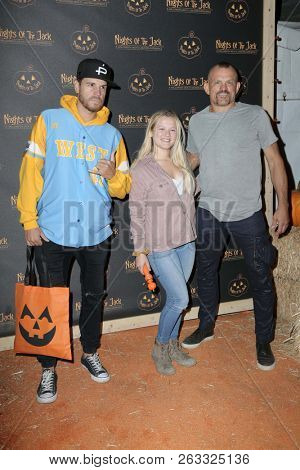 LOS ANGELES - OCT 10:  Dave Osaka, Trista Liddell, Chuck Liddell at the Nights Of The Jack Halloween Activation Launch Party at the King Gillette Ranch on October 10, 2018 in Calabasas, CA