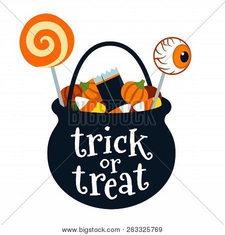 Halloween Trick Or Treat Black Cauldron Bucket Full Of Candy Vector Cartoon Illustration Isolated On