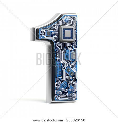 Number 1 one, Alphabet in circuit board style. Digital hi-tech letter isolated on white. 3d illustration