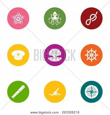 Sea Occupant Icons Set. Flat Set Of 9 Sea Occupant Vector Icons For Web Isolated On White Background