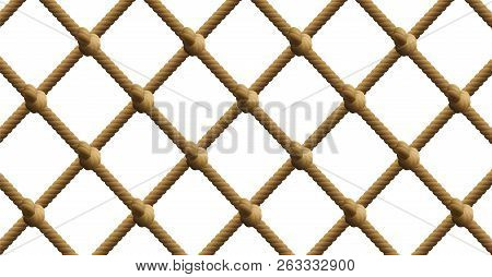 Knotted Net, Nautical Rope Fishing Net Patter. Isolated Vector Illustration On White Background.