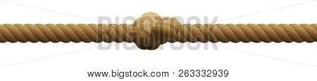 Single Knot In A Rope. Isolated Vector Illustration On White Background.