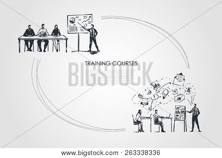 Training Courses - Students Listening To Presentation And Sitting In Classrom Vector Concept Set. Ha