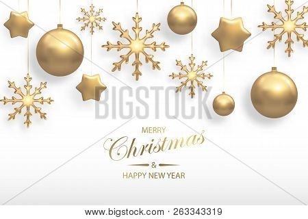 Vector Illustration Of Christmas Background With Golden Realistic Christmas Ball, Star, Snowflake De