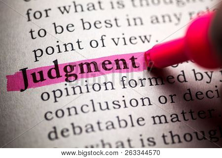 Fake Dictionary, Definition Of The Word Judgment.