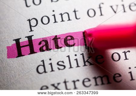 Fake Dictionary, Definition Of The Word Hate.
