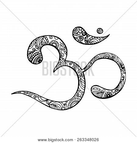 Hand Drawn Ohm Symbol, Indian Diwali Spiritual Sign Om With High Details Isolated. Vector Monochrome