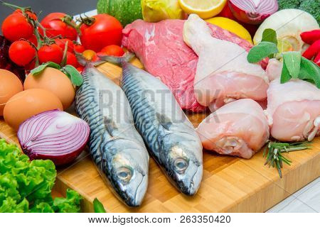 A Mediterranean Diet With Fish,meat And Vegetables