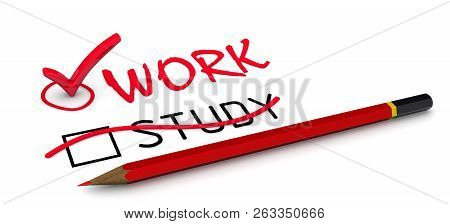 Study Is Corrected To Work. The Concept Of Changing The Conclusion. The Red Pencil Corrected Word St