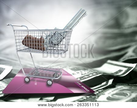 Weapon Gun in a trade cart. US dollars and credit card. 3D rendering
