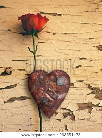 Surrealism. Red love rose and rusted heart with metal patches. 3D rendering