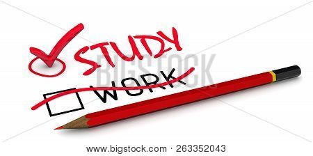 The Word Work Is Corrected To Study. The Concept Of Changing The Conclusion. The Red Pencil Correcte